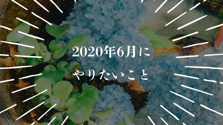 今月やりたいこと【2020年6月】